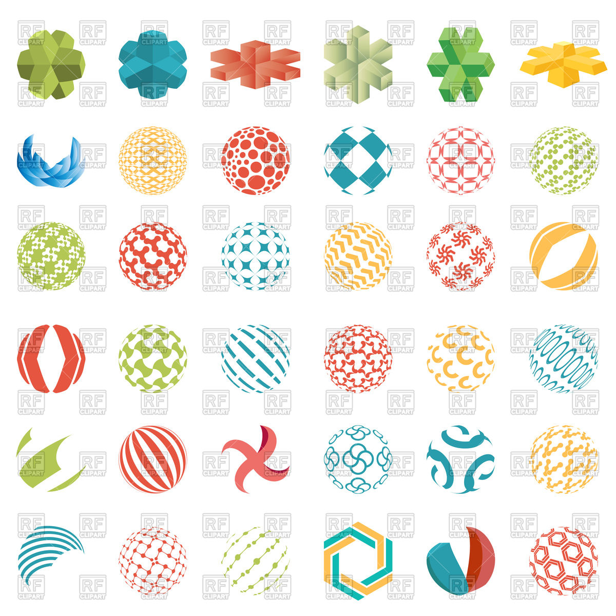 1200x1200 Set Of Universal Colorful Spherical Logos Vector Image Vector