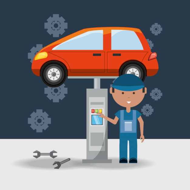 626x626 Automobile And Man Of Car Service And Machine Repair Vector