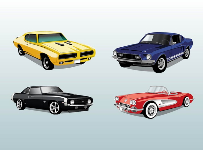 646x479 Retro Automobile Cars Ride Vector Vector Free Download