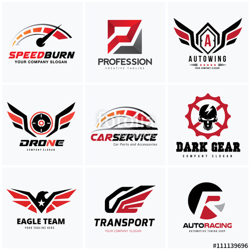 500x500 Rock And Automotive Logo Set Design For Car Auto Services And