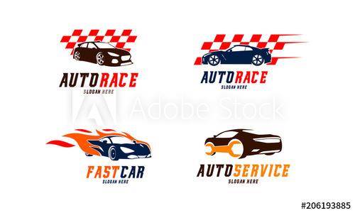 500x300 Set Of Racing Car Logo Vector, Fast Car Flame Logo, Automotive