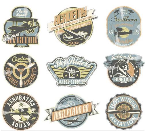 504x455 Retro Aviation Labels Vector Ai Format Free Vector Download