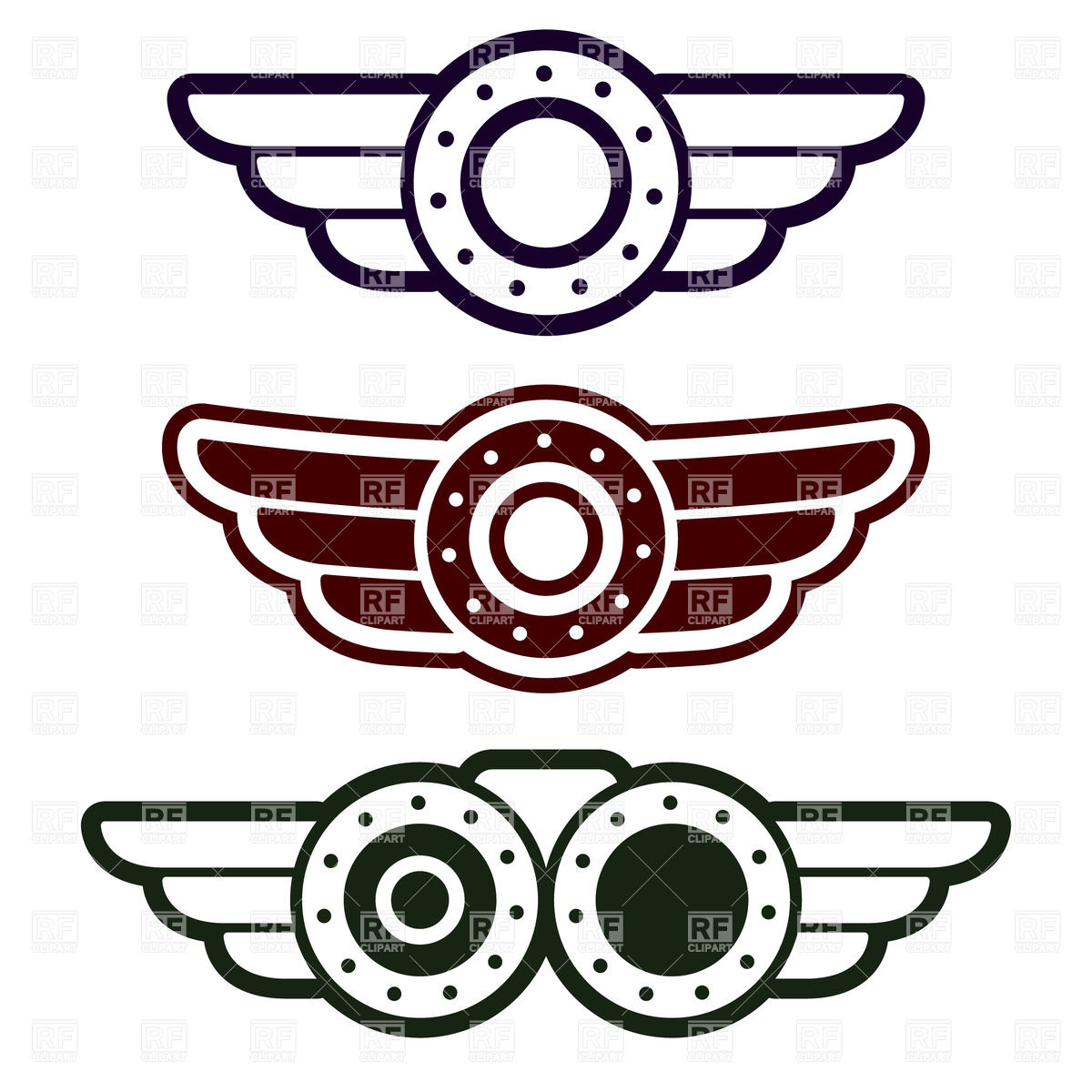 1200x1200 Steampunk Style Aviation Round Emblems With Wings Vector Image