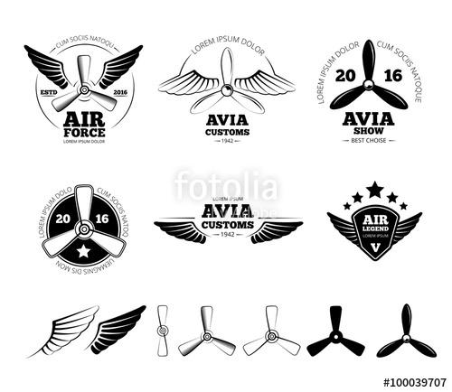 500x434 Vintage Airplane Labels, Emblems And Symbols Set. Aviation Stamp