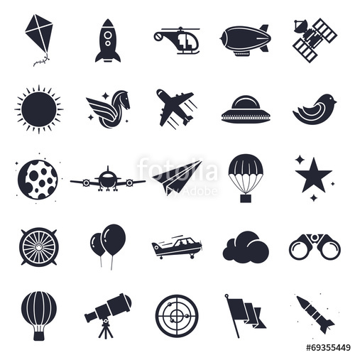 500x500 Aviation And Flying Objects Theme, Black And White Icons. Stock