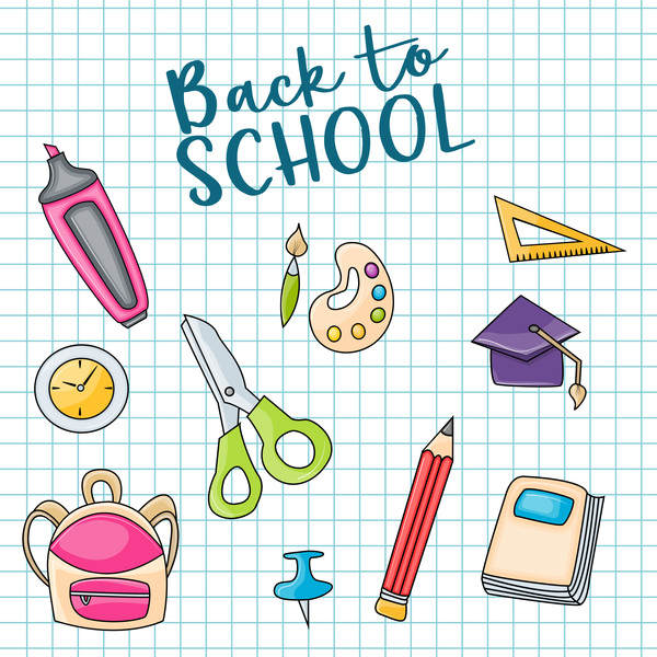 600x600 Back To School Background And Stationery Vector Free Download