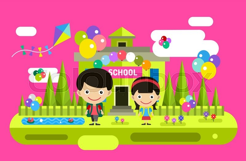 800x523 Back To School Background. Cute Vector Cartoon Boy And Girl