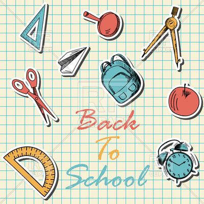 400x400 Back To School Icons In Flat Design On Checkered Paper Vector