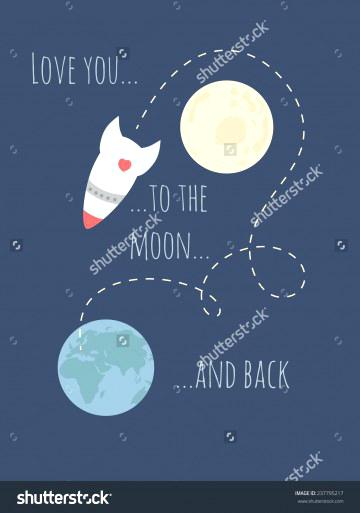 360x513 Love You To The Moon And Back Quote I Vector Inspirational Hand