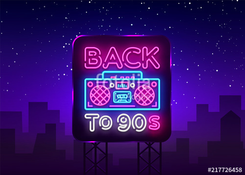 500x357 Back To 90s Neon Poster, Card Or Invitation, Design Template