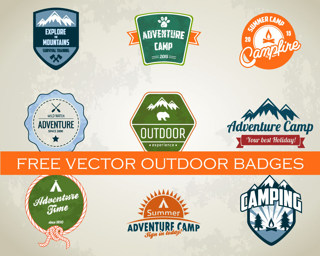 1068x854 Free Camping And Outdoor Badges Vector Pack Vector Freebies
