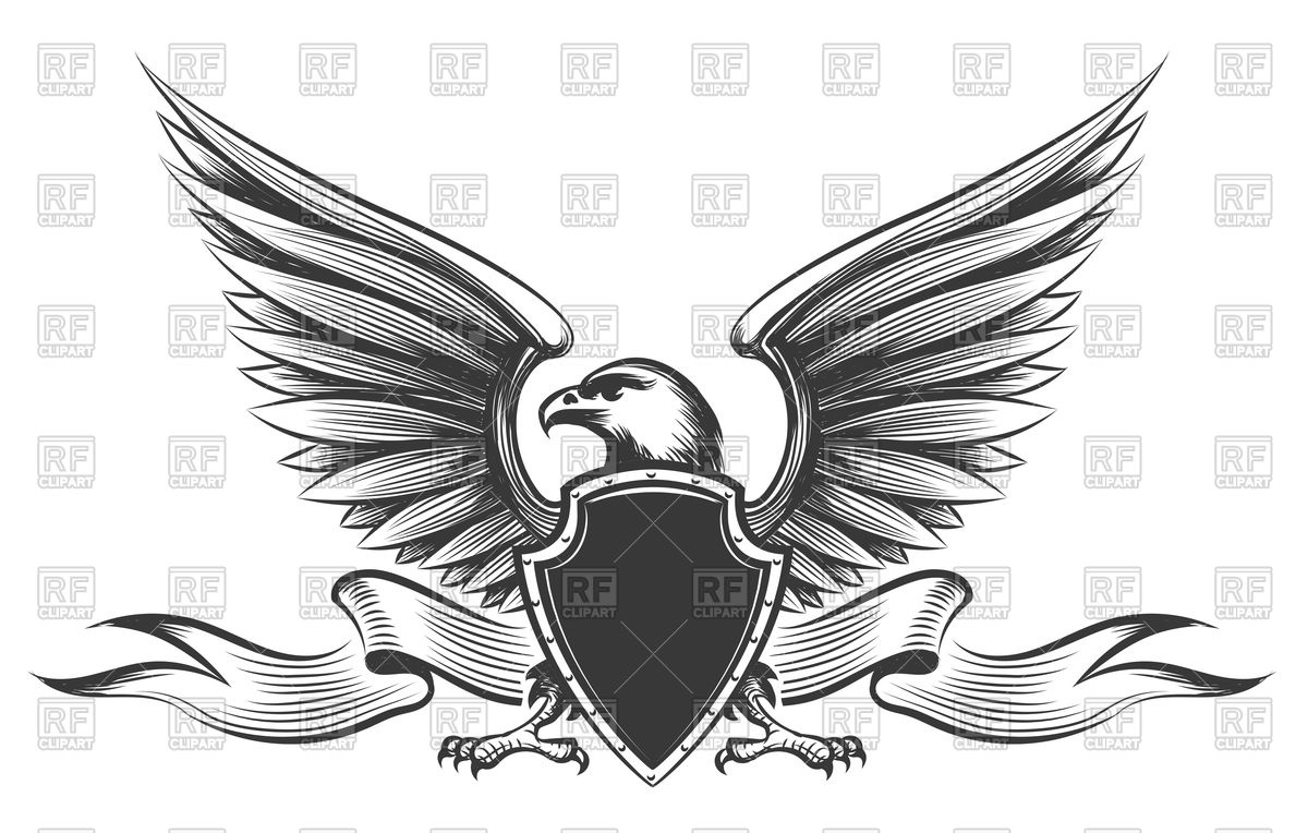 1200x764 Engraving American Bald Eagle, Shield And Ribbon Vector Image
