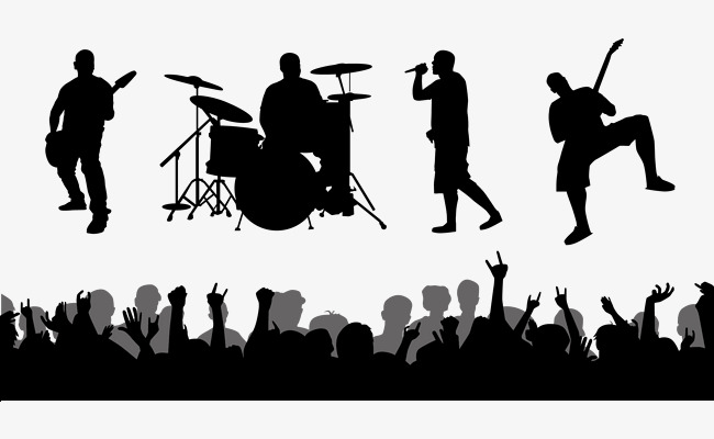 650x400 Rock Band Live Performances Vector Silhouettes, Band Silhouette