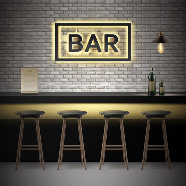 600x600 Bar Interior Design Vector Material Free Download