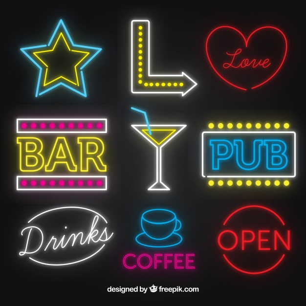 626x626 Bar Neon Signs Collection Vector Free Download
