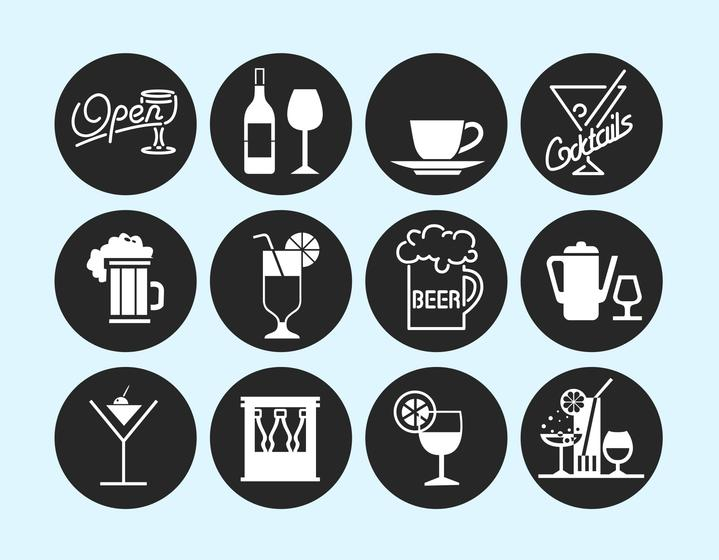 719x560 Drinks And Bar Vector Pack