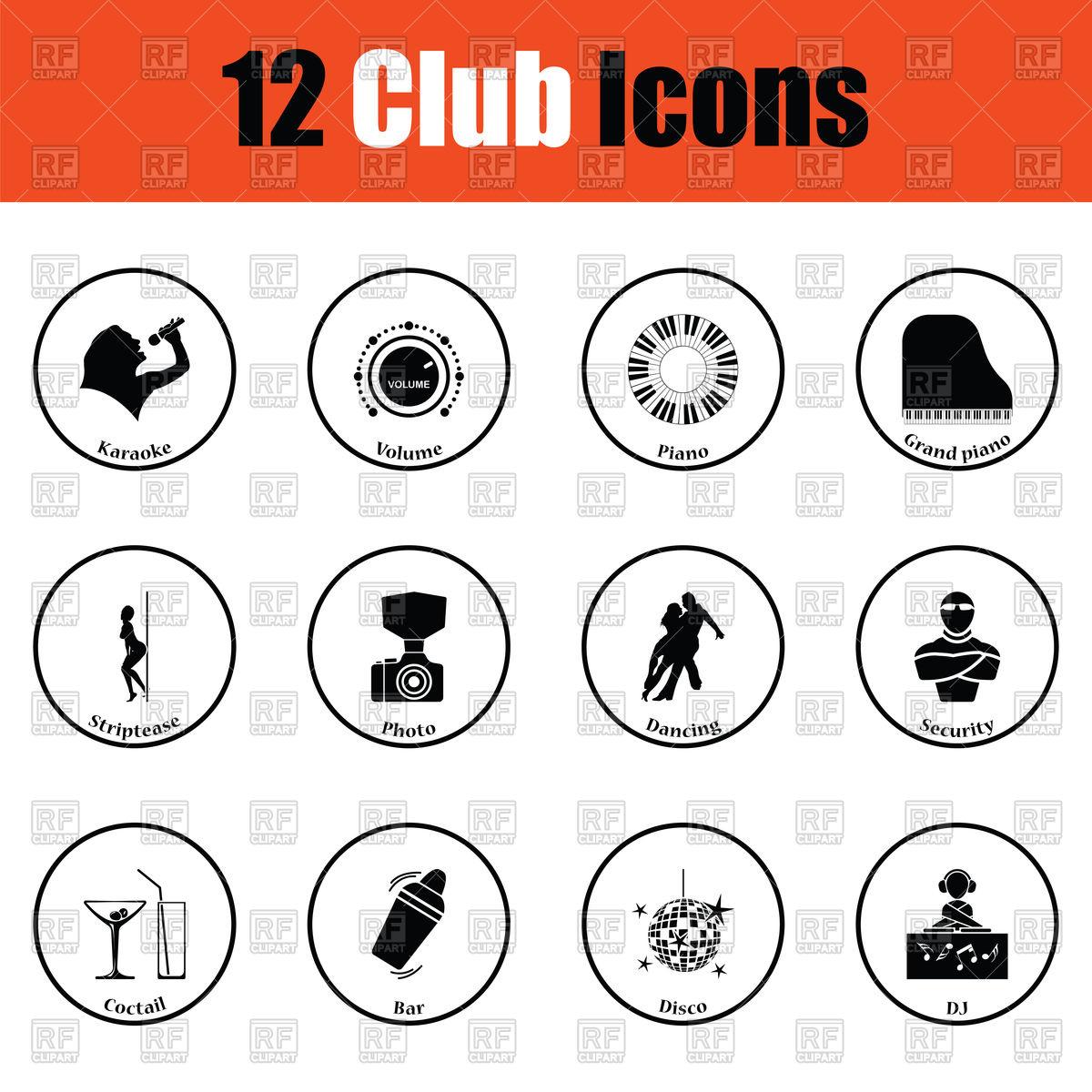 1200x1200 Set Of Night Club Icons Dj, Bar, Dance, Karaoke Vector Image