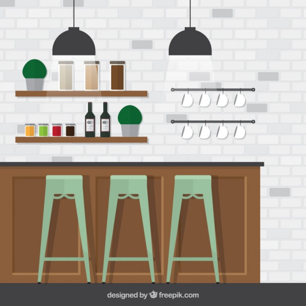 626x626 Wet Bar With Brick Wall Vector Free Download