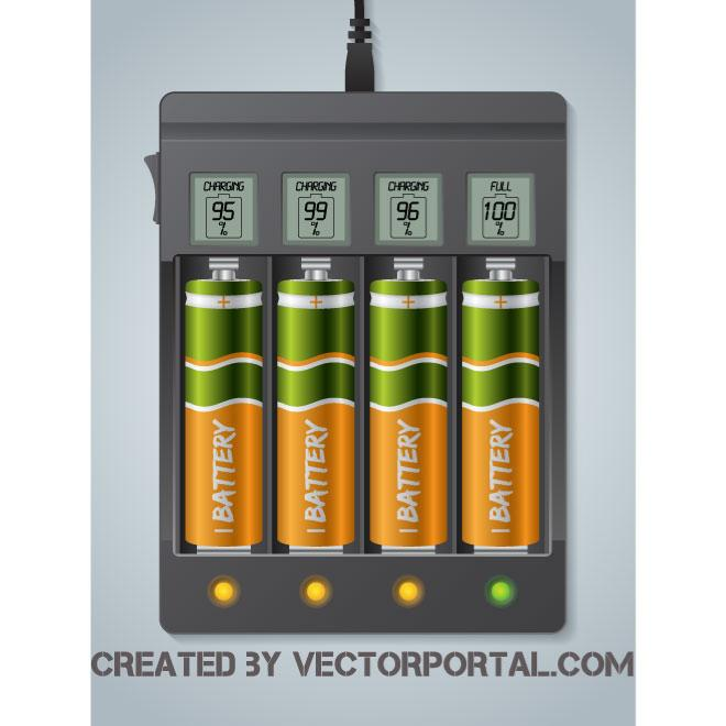 660x660 Battery Charger Vector Image