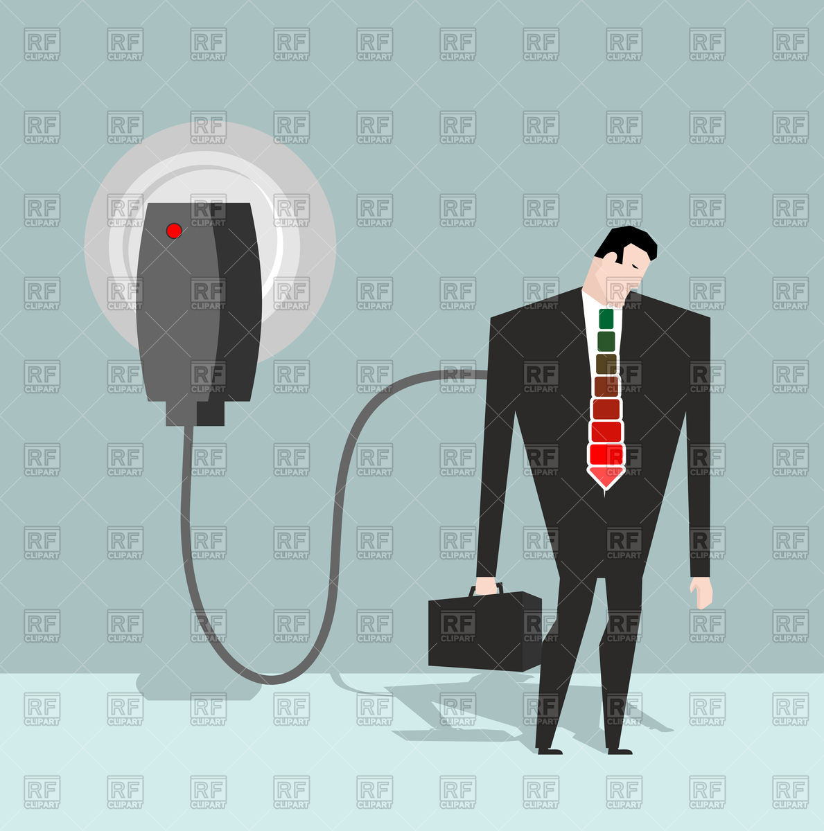 1189x1200 Businessman Charged From Battery Charger Vector Image Vector