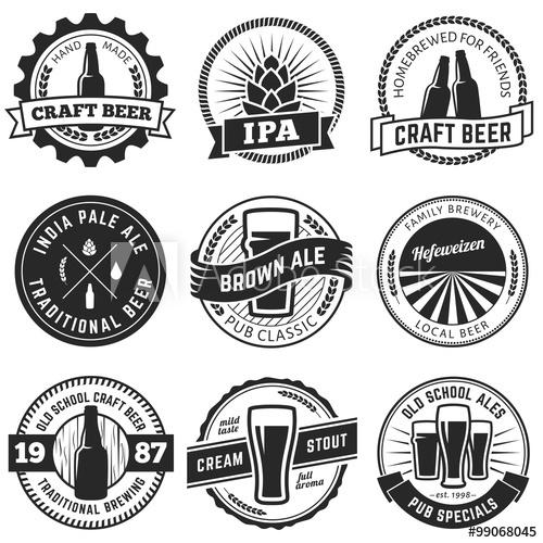 500x500 Set Of Vintage Craft Beer Labels And Emblems. Vector Beer Badges