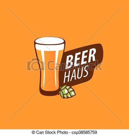 450x470 Vector Beer Logo. Vector Template Logo Beer Glass. Vector
