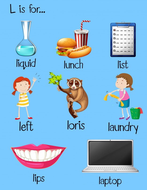 626x810 Many Words Begin With Letter L Vector Free Download