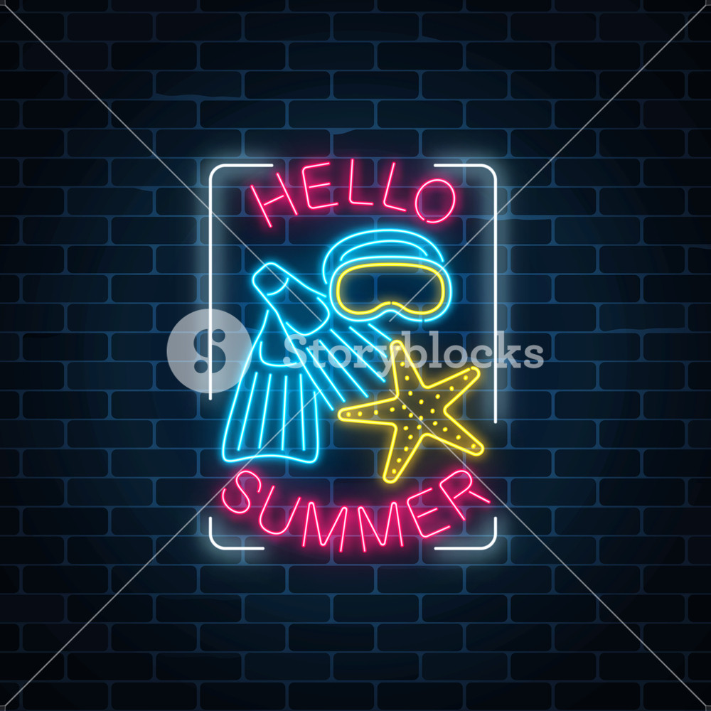 1000x1000 Glowing Neon Sign Of Summer Begin Party With Sea Star, Flippers