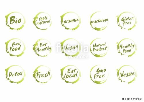 500x354 Set Of Healthy Food Symbols. Vector Bio, Natural, Organic