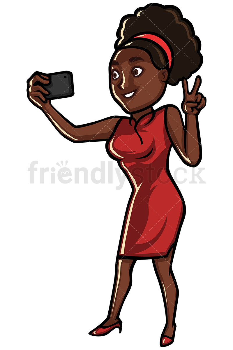 800x1200 Black Woman Taking Selfie With Cellphone Vector Cartoon Clipart