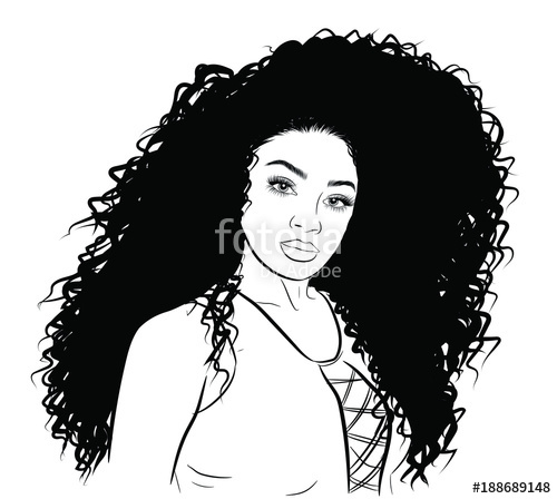 500x448 Hand Drawn Black Woman With Curly Ponytail And Luxurious Hair