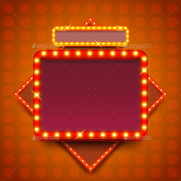 590x590 Retro Poster With Neon Lights Square Board Vector By Andegro4ka