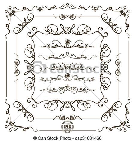 450x470 Doodle Frame Borders. Vector Hand Drawn Doodle Border Frames Set.