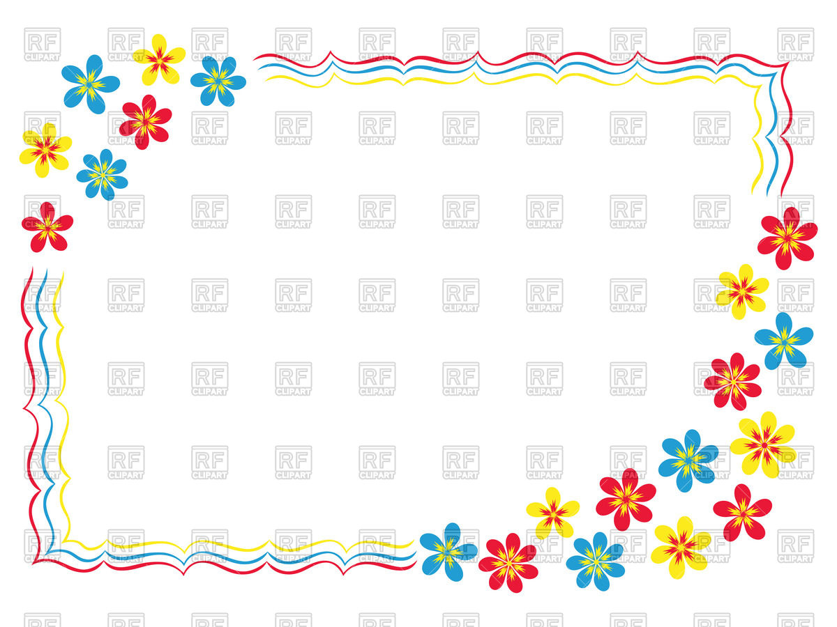 1200x900 Simple Cartoon Frame With Floral Corners And Wavy Border Vector