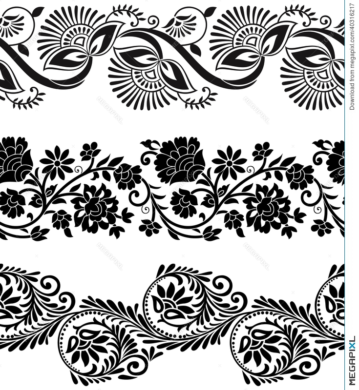 735x800 Floral Border Vector Free