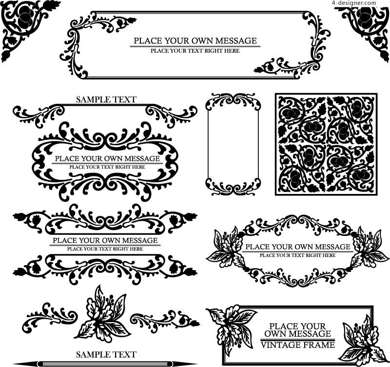 800x753 4 Designer European Pattern Border Design Vector Material