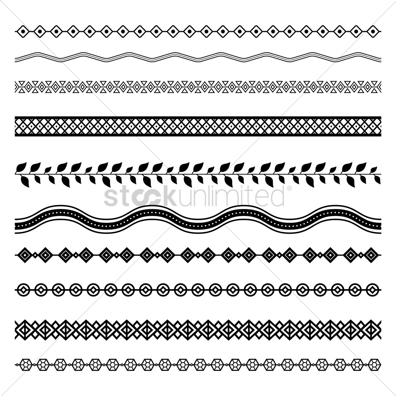 1300x1300 Set Of Abstract Border Designs Vector Image