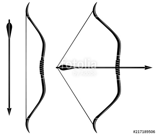 500x431 Bow And Arrow Icon Vector. Stretched Bow. Stock Image And Royalty