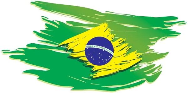 600x296 Vector Brazil Flag Stylized On White Background Vector Background