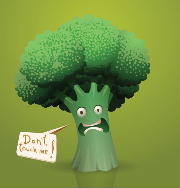 600x627 Scared Cartoon Broccoli Vector Free Download