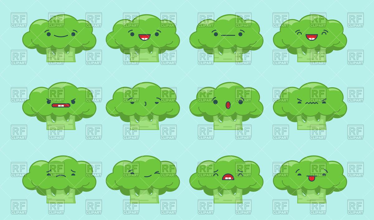 1200x706 Set Of Kawaii Broccoli Emoticons Vector Image Vector Artwork Of
