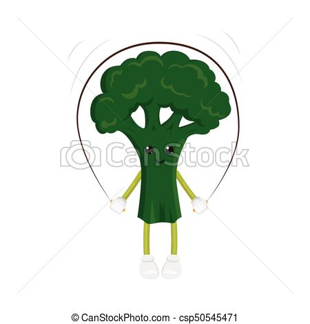 450x470 Vector Broccoli Character, Jumping Rope Exercise. Vector Flat