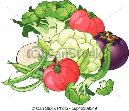 450x385 Vector Vegetables Set With Broccoli, Green String Beans, Tomatoes