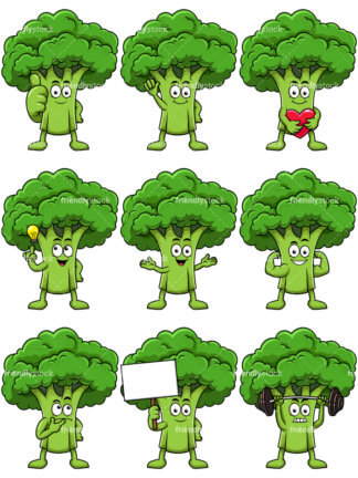 324x432 Broccoli Mascot Lifting Weights Cartoon Vector Clipart