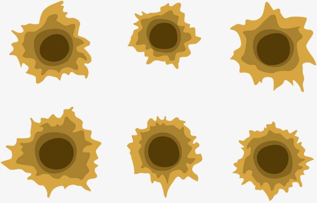 650x417 Bullet Holes Vector Yellow, Bullet Vector, Vector, Bullet Holes