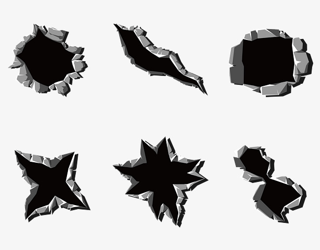650x507 Vector Three Dimensional Steel Metal Bullet Hole Traces, Bullet