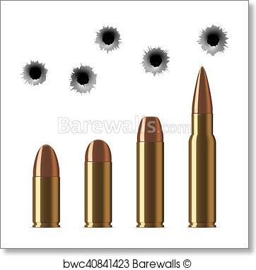 362x382 Art Print Of Vector Shot Gun Bullets And Bullet Holes Isolated On
