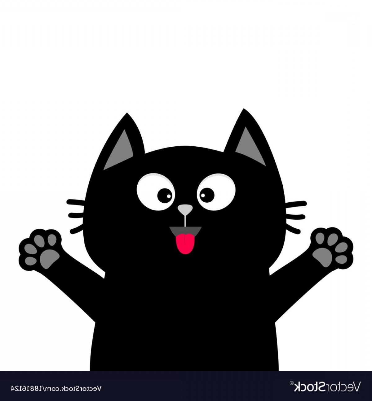 1200x1296 Black Cat Face Head Tongue Paw Print Silhouette Vector Shopatcloth