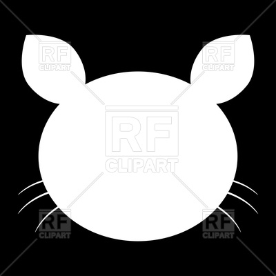 400x400 Cat Head White Color Icon On Black Background Vector Image