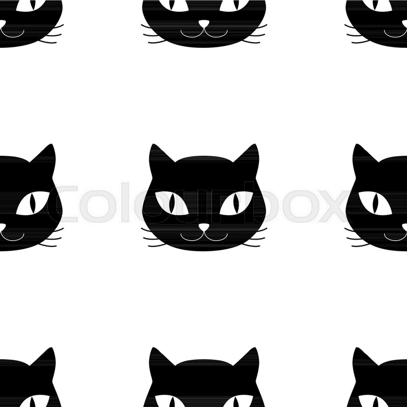 800x800 Domestic Cat Head Pet Silhouettes Seamless Pattern, Vector